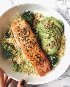 Salmon, avocado, broccoli and cauliflower rice Power Bowl