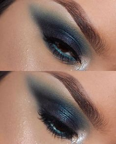 SMOKEY BLUE • eyeshadow: @morphebrushes 35B, @toofacedcosmetics le grand palais palette, 'midnight in paris,' 'eiffel' & 'string of lights' ... touch of @nyxcosmetics face & body glitter in 'crystal' on inner corner. • waterline: @nyxcosmetics jumbo eye pencil in 'electric blue' • eyebrows: @anastasiabeverlyhills dipbrow pomade 'chocolate'
