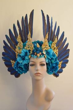 Headdresses and Wands - SerpentfeathersSerpentfeathers Feather Headdress, Tiaras And Crowns, Headgear, Costume Design, Wearable Art, Fancy Dress, Fascinator, Ideias Fashion, Character Design
