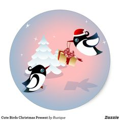 Shop Cute Birds Christmas Present Classic Round Sticker created by Ruxique. Round Stickers, Cute Stickers, Christmas Stickers, Cute Birds, Different Shapes, Christmas Presents, Activities For Kids, Vibrant, Diy Projects