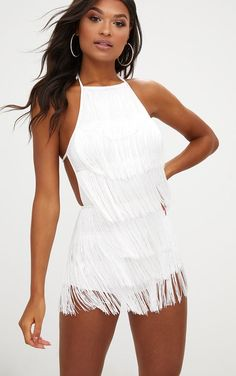 party Outfit White Tassel Romper White Tassel RomperUp your all-in-one game with this white tassel romper. Featuring a halterneck . Festival Wear, Festival Outfits, Festival Fashion, Festival Clothing, Rave Clothing, Boho Clothing, Boho Outfits, Fashion Outfits, Woman Outfits