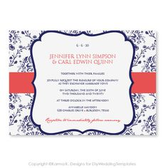 Printable Wedding Invitation Template - Download Instantly - EDITABLE TEXT- Victorian Damask (Navy & Coral)  - Microsoft Word Format on Etsy, $8.00