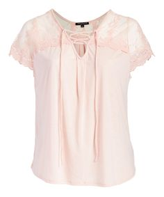 Take a look at this ABSOLUTE ANGEL Blush Lace-Contrast Lace-Up Top - Plus today!