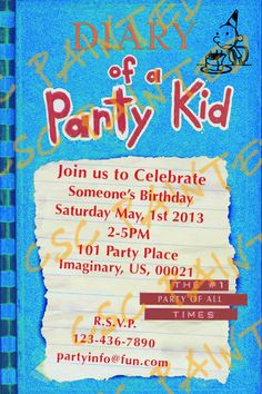 Diary of a wimpy kid Birthday Invitation