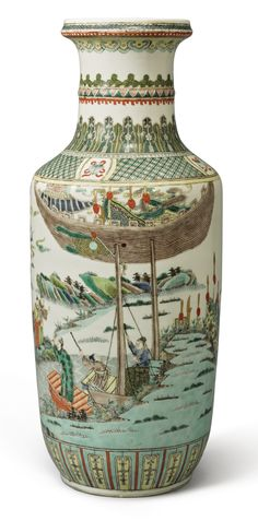 A FAMILLE-VERTE ROULEAU VASE  QING DYNASTY, 19TH CENTURY