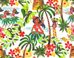 Hula Girls from the Sixties - on White fabric