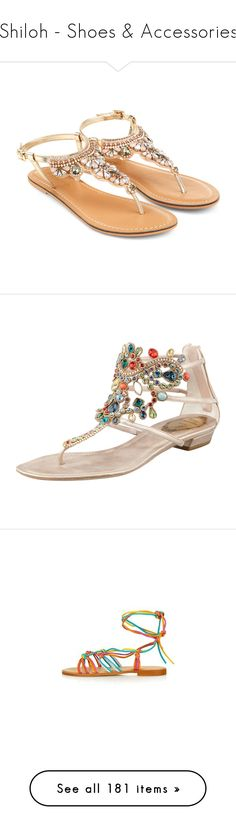 """Shiloh - Shoes & Accessories"" by atropa ❤ liked on Polyvore featuring shoes, sandals, flats, flat sandals, ankle wrap flat sandals, ankle strap flats, flat pumps, jewel sandals, jeweled sandals and scarpe"