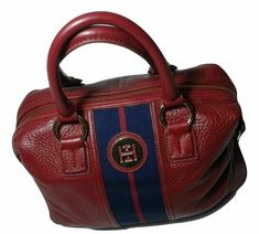 Tommy Hilfiger Th Logo Pebble Leather Bowler Satchel Maroon Retail $159 #TommyHilfiger #Satchel #Business