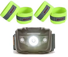 Headlamp with Reflective running gear  Use the Reflective strips as armbands or ankle or wrist bands  Set of 4 Two pairs *** Find out more about the great product at the image link. Note:It is Affiliate Link to Amazon.