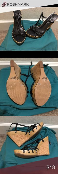 Black Cork Wedges Sz 8 Jessica Simpson Cork Wedges (Black) Jessica Simpson Shoes Wedges