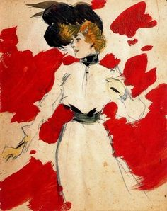 Ramón Casas. Feminine Figure, 1900. Lead pencil, watercolor and gouache.
