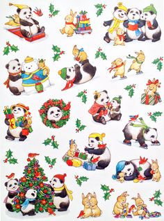 Current, Inc. code 032523 - Christmas, winter panda stickers