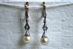 Beautiful Vintage Art Deco 18K Yellow/ White Gold Diamond and Pearl Earrings. on Etsy, $595.00