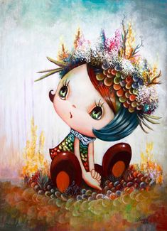 A cute little girl wears coral in this cartoon pop surrealism painting by Yosuke Ueno Arte Lowbrow, Art Pop, Art And Illustration, Art Fantaisiste, Art Mignon, Art Beat, Surrealism Painting, Whimsical Art, Surreal Art