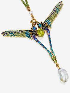 18-K Gold/ enamel/ peridot/ pearl Pendant-.Necklace, René Lalique | Sotheby's