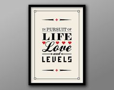 Life Love and Levels // Custom Geek Quote and by TheGeekerie, $18.00
