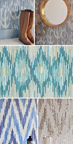 ikat tiles – diy with paper reeds?  http://blog.nauli.de/2012/03/pattern-love-ikat-tiles.html