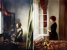 "waiting - same old, same old //  ""Girl reading a letter by an open window"", Vermeer - remake by Wanda Martin"