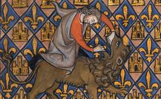 Samson Wrestling with the Lion (Getty Museum) Medieval Manuscript, Illuminated Manuscript, Medieval Life, Medieval Music, Medieval Art, Westerns, Late Middle Ages, Getty Museum, Book Of Hours