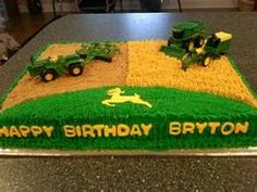 John Deere Birthday Cake - cute idea, just needs proper equipment