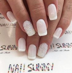 35 trendy short coffin nails designs page 31 Nail Art Vernis, Manicure And Pedicure, Glitter Nails, Gel Nails, Nail Polish, Coffin Nails, Bride Nails, Wedding Nails, Cute Nails
