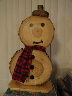 This item is a wonderful addition to your garden, porch, patio, or walkway. It is whimsical and eye-catching and will have your friends and family admiring your winter decorations. The snowman is made from wooden tree rounds in varying sizes. Each snowman is unique and no two are alike. The average height for the largest round is 10-1/2 - 11 tall, the smaller round is 8-1/2 - 9 tall, and the snowmans hat is 2-1/2 - 3 tall. The overall height is approximately 22 - 23. The overa...