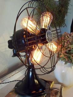 I've never seen this lind of fan - ever! Vintage GE Electric Fan with Edison Bulbs 13 by NewEdisonVintage Decor, Industrial Decor, Vintage Fans, Steampunk Lamp, Bulb, Lights, Edison Bulb, Diy Lamp, Light Project