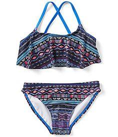1756a9fed1 Jessica Simpson Big Girls 7-16 Printed Flounce Bikini Top   Bottoms 2-Piece  Swimsuit