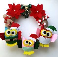 Felt Owl Family Christmas Door Wreath Felt Christmas Gift