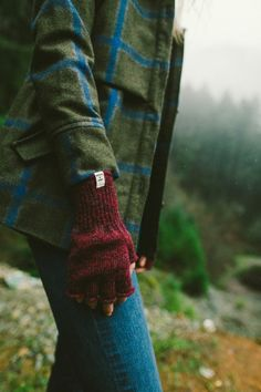 plaid + knit fingerless gloves
