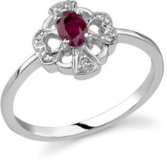Beautiful 2.50 Ct Two Hearts For Each Other Ruby 14k White Gold Over Ring Convenient To Cook Jewelry & Watches