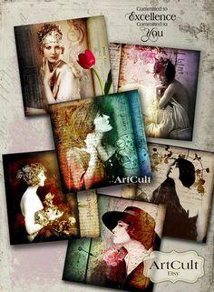 VINTAGE OBSESSION No1 - Digital Collage Sheet ArtCult printable images for DIY gift cards, paper craft,  scrapbook. $4.90