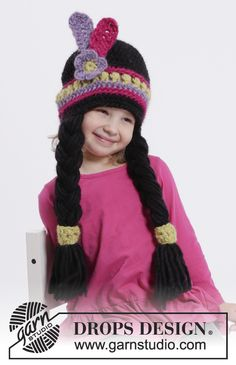 """Little Alawa - DROPS Carnival: Crochet DROPS Indian hat with braids and feathers in """"Eskimo"""". Size years - Free pattern by DROPS Design Knitting Patterns Free, Free Knitting, Baby Knitting, Crochet Patterns, Free Pattern, Halloween Costume Crochet, Crochet Costumes, Crochet Gratis, Free Crochet"""