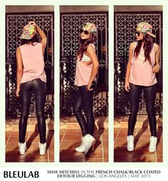 "Shay Mitchell of Pretty Little Liars Instagrams her ""laid back, perfect for running errands"" look! She styles Bleulab's reversible French Chalk/Black Coated Legging with a Joy Rich LA hat, CrooksnCastles tank and Nike kicks!  Follow Shay: instagram.com/shaym Shop the look at www.bleulabboutique.com"