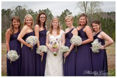 baby's breath bouquets | eggplant bridesmaids dresses | lazy acres wedding | weddings at lazy acres chunky ms