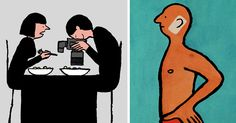 French illustrator Jean Jullien draws witty illustrations that point out our absurd addictions to technology, social media and our smartphones. The artist is famous for mocking our obsession, which cuts us off from the real life, leaving us alienated and lonely.