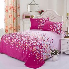 LOVE THE CURTAINS!!   18 Colors Bed Sheet Set Comfort Cotton Bed Sheet 2 Pillowcases Sheets Bedding   eBay