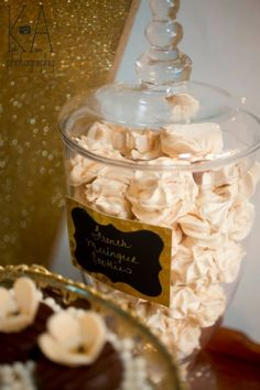 Can't get enough: French meringue cookies at Great Gatsby-style dessert table by… Great Gatsby Party, Gatsby Themed Party, 1920s Party, Nye Party, The Great Gatsby, 1920s Wedding, Wedding Rehearsal, Rehearsal Dinners, Prohibition Party