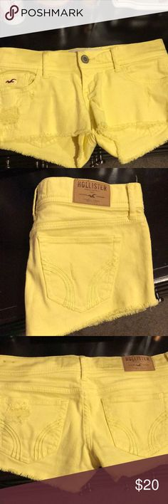 Bright Yellow Hollister Short Shorts These are a favorite pair of my shorts ! Super bright yellow, and they are just amazing for the spring/summer with this color! I've only wore them ONE TIME because unfortunately when I bought them they were a little snug on me and now they are just too small for me and I'll never be able to wear them. Hollister Shorts Jean Shorts