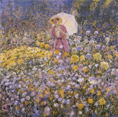 The Flower Garden, 1912. Frederick Carl Frieseke (1874-1939). Oil on canvas, 32.25 x 34.25 in. From the Chase Collection. by NBMAA, via Flickr