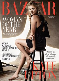 Kate Upton Pose on Harper's Bazaar Australia December 2015 cover Photoshoot