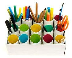 Genius craft storage or back to school DIY storage~ love this #recycle #DIY