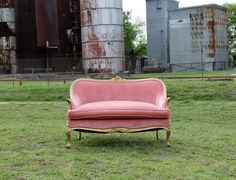 """Pink & Gold Velvet Settee """"Petula"""" — Rent My Dust Pink Settee, Pink Velvet Couch, Vintage Settee, Decorating Apps, Shabby, Le Far West, Cool Rooms, Pink And Gold, Room Decor"""