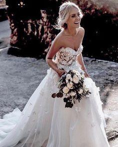 Hottest Wedding Dresses Collections for 2021 ❤ best wedding dresses princess sweetheart neckline strapless floral appliques lizmartinez #weddingforward #wedding #bride