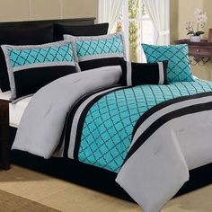 Elegant Style Bedroom Decor With Peacock Feather Teal Queen - Black and teal comforter sets