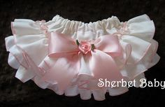 Sassy Pants Ruffle Diaper Cover Cream with Pink by SherbetBaby, $30.00