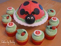 Ladybug First Birthday smash cake and coordinating cupcakes :)