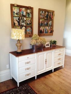 Antique vintage buffet - painted white with gold hardware.