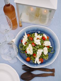 Pesto Coodles (Courgette Noodles--zucchini) with Burrata and Cherry Toms - The Londoner