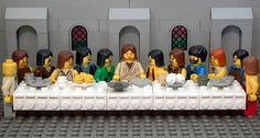 Lego Jesus at the Lego Last Supper eating the Lego Passover meal